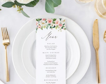 Editable Template - Instant Download Spring Romance Dinner Menu