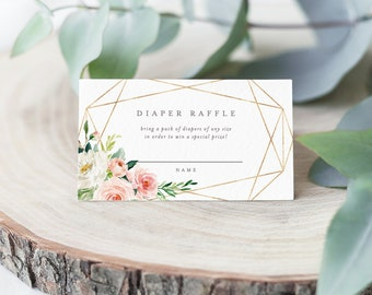 Editable Template - Instant Download Geometric Spring Romance Diaper Raffle Card