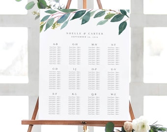 Editable Template - Instant Download Leafy Alphabetical Guest Seating Chart in 2 sizes