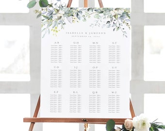 Editable Template - Instant Download Dusty Blue Florals Alphabetical Guest Seating Chart in 2 sizes