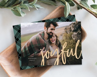 Editable Template - Instant Download Joyful Gold Holiday Photo Card