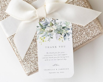 Editable Template - Instant Download Dusty Blue Florals Wedding Gift Tags