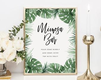 Editable Template - Instant Download Tropics Mimosa Bar Sign