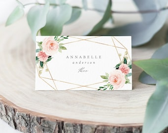 Editable Template - Instant Download Geometric Spring Romance Place Cards