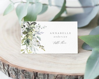 Editable Template - Instant Download Dusty Blue Florals Place Cards