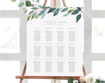 Editable Template - Instant Download Leafy Guest Seating Chart in 6 size and table variations