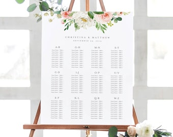 Editable Template - Instant Download Spring Romance Alphabetical Guest Seating Chart in 2 sizes