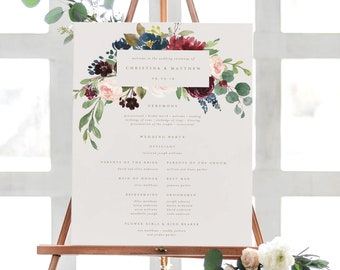 Editable Template - Instant Download Fall Elegance Wedding Ceremony Program Sign in 2 Sizes