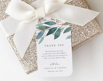 Editable Template - Instant Download Leafy Wedding Gift Tags