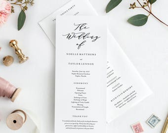 Editable Template - Instant Download Soft Calligraphy Wedding Program
