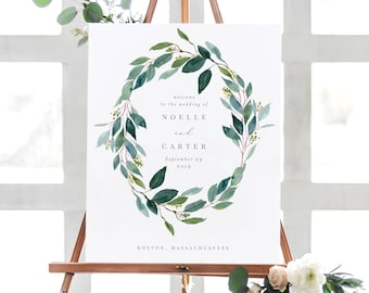 Editable Template - Instant Download Leafy Wreath Wedding Welcome Sign in 2 Sizes