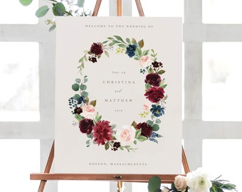 Editable Template - Instant Download Fall Elegance Wedding Welcome Sign in 2 Sizes