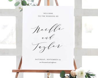 Editable Template - Instant Download Soft Calligraphy Wedding Welcome Sign in 2 Sizes