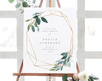 Editable Template - Instant Download Geometric Leafy Wedding Welcome Sign in 2 Sizes