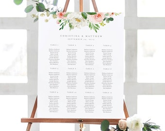 Editable Template - Instant Download Spring Romance Guest Seating Chart in 6 size and table variations