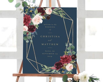 Editable Template - Instant Download Geometric Fall Elegance Wedding Welcome Sign in 2 Sizes