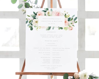 Editable Template - Instant Download Spring Romance Wedding Ceremony Program Sign in 2 Sizes