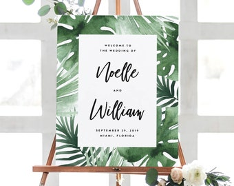Editable Template - Instant Download Tropics Wedding Welcome Sign in 2 Sizes