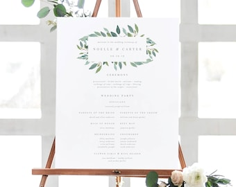 Editable Template - Instant Download Leafy Wedding Ceremony Program Sign in 2 Sizes