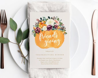 Editable Template - Instant Download Floral Pumpkin Basket Friends Giving Thanksgiving Dinner Invitation