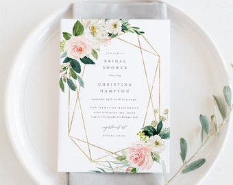 Editable Template - Instant Download Geometric Spring Romance Bridal Shower Invitation