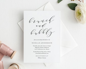 Editable Template - Instant Download Soft Calligraphy Brunch and Bubbly Shower Invitation