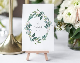 Editable Template - Instant Download Leafy Table Numbers