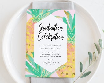 Editable Template - Instant Download Pineapples Graduation Party Invitation