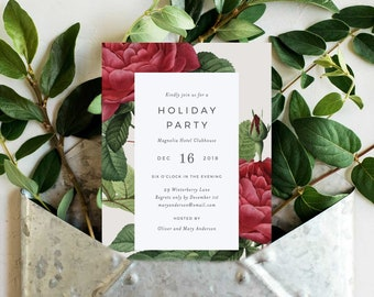 Editable Template - Instant Download Vintage Rose Holiday Party Invitation
