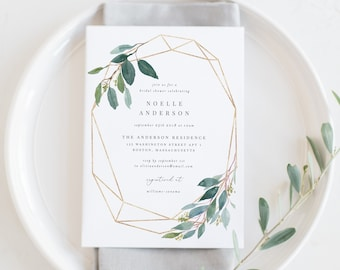 Editable Template - Instant Download Geometric Leafy Bridal Shower Invitation