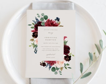 Editable Template - Instant Download Fall Elegance Bridal Shower Invitation
