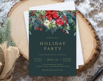 Editable Template - Instant Download Garland Holiday Party Invitation