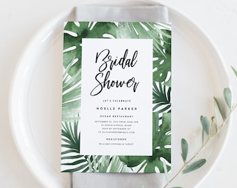 Editable Template - Instant Download Tropics Bridal Shower Invitation