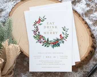 Editable Template - Instant Download Red Robin Wreath Holiday Party Invitation