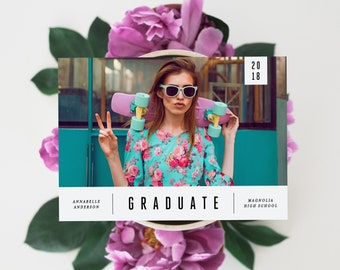 Editable Template - Instant Download Minimal Sleek Graduation Photo Card