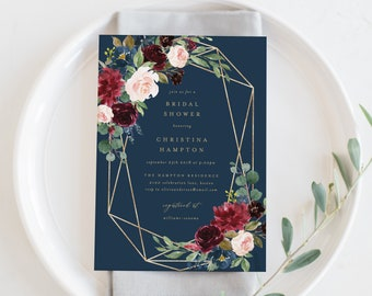 Editable Template - Instant Download Geometric Fall Elegance Bridal Shower Invitation