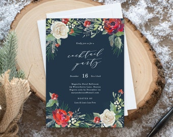 Editable Template - Instant Download Holiday Garden Cocktail Party Invitation
