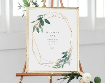 Editable Template - Instant Download Geometric Leafy Mimosa Bar Sign in 3 sizes