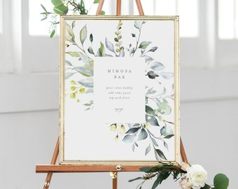 Editable Template - Instant Download Dusty Blue Florals Mimosa Bar Sign in 3 sizes