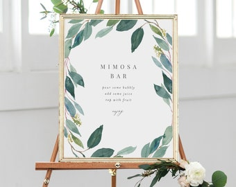 Editable Template - Instant Download Leafy Mimosa Bar Sign in 3 sizes