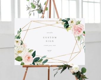 Editable Template - Instant Download Geometric Spring Romance Custom Sign Set - Vertical and Horizontal Signs in 5 Sizes