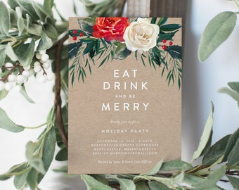 Editable Template - Instant Download Floral Kraft Holiday Party Invitation