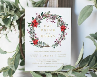 Editable Template - Instant Download Classic Poinsettia Holiday Party Invitation