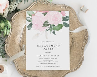 Editable Template - Instant Download Chic Romance Engagement Dinner Party Invitation
