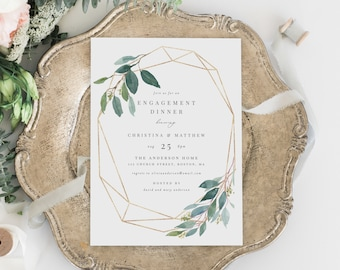 Editable Template - Instant Download Geometric Leafy Engagement Dinner Invitation