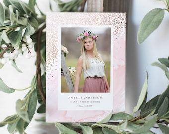 Editable Template - Instant Download Young Wild & Free Graduation Photo Card Announcement