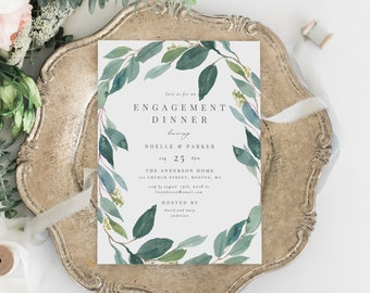 Editable Template - Instant Download Leafy Engagement Dinner Party Invitation