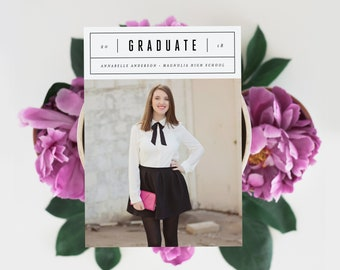 Editable Template - Instant Download Minimal Chic Graduation Photo Card