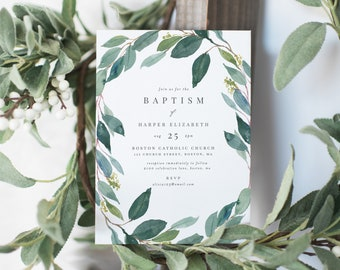 Editable Template - Instant Download Leafy Baptism Invitation