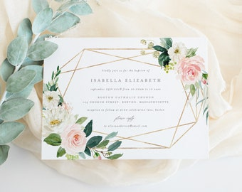 Editable Template - Instant Download Geometric Spring Florals Baptism Invitation